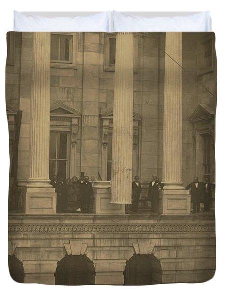 Hoisting Final Marble Column At United States Capitol Duvet Cover