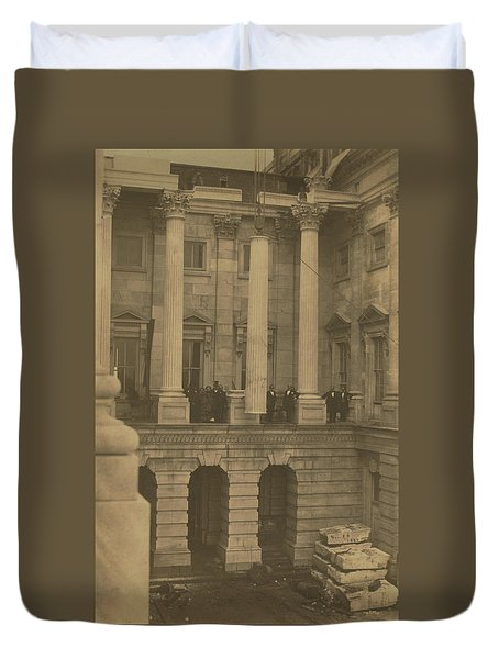 Hoisting Final Marble Column At United States Capitol Duvet Cover