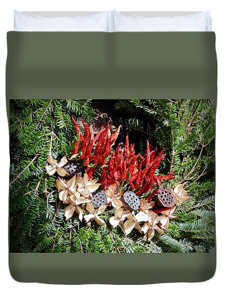 Duvet Cover featuring the photograph Holiday Peppers by Don Moore