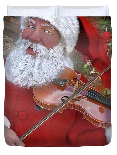 Holiday Santa Playing Violin Custom Duvet Cover