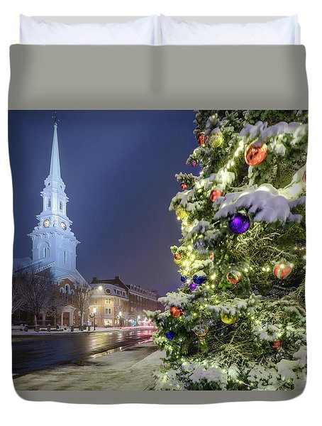 Holiday Snow, Market Square Duvet Cover