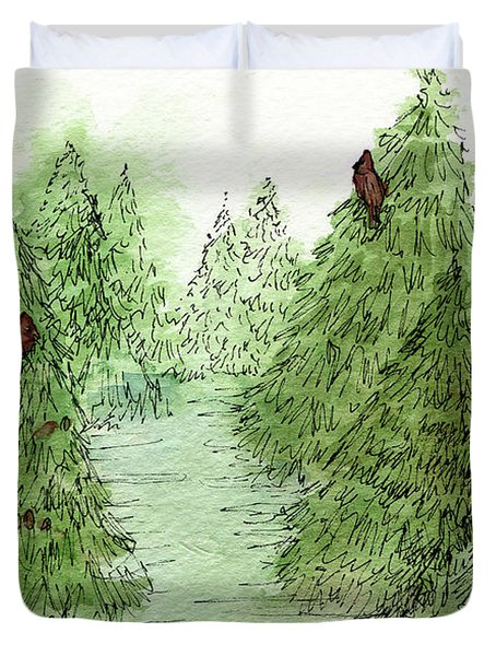 Holiday Trees Woodland Landscape Illustration Duvet Cover