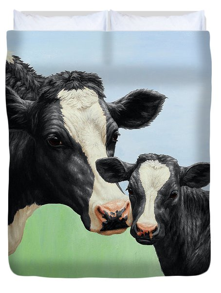 Holstein Cow And Calf Duvet Cover