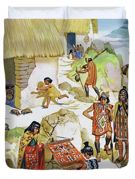 Home In Peru, Circa Ad 100 Duvet Cover