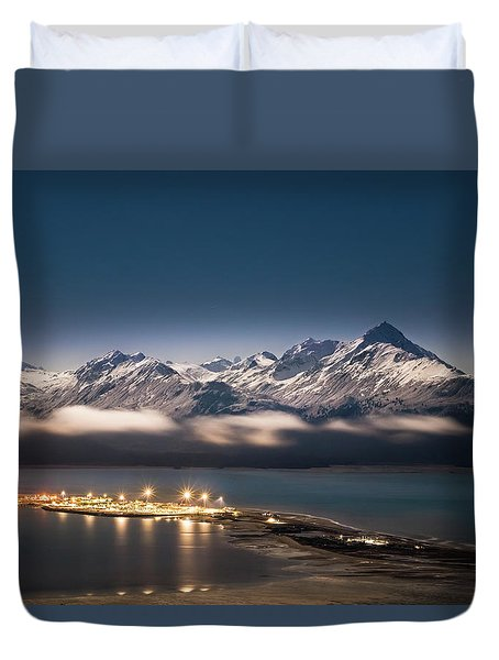 Homer Spit With Moonlit Mountains Duvet Cover