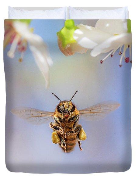 Honeybee Suspended On Air Duvet Cover