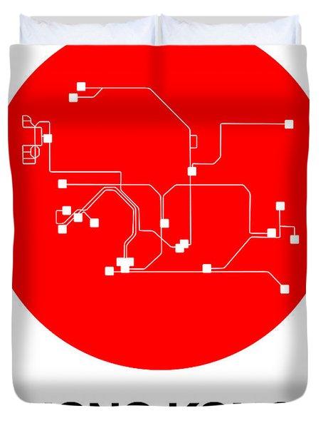 Hong Kong Red Subway Map Duvet Cover