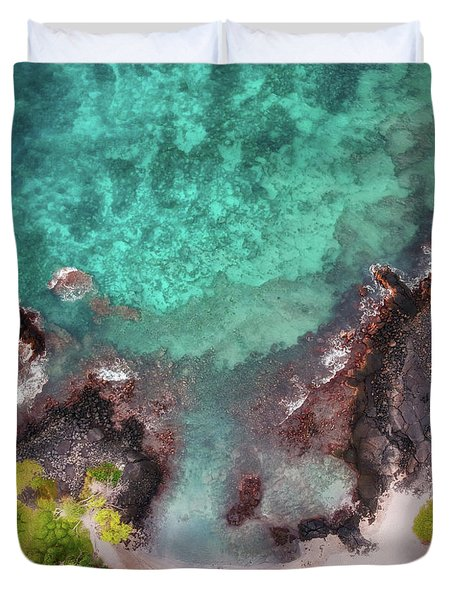 Honokohau Harbor Beach Aerial Duvet Cover