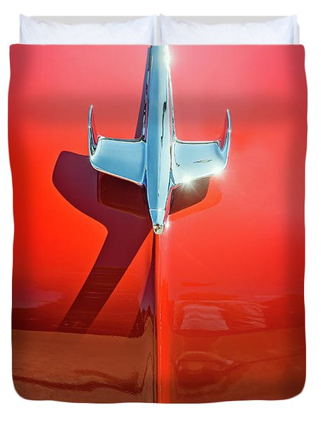 Hood Ornament On A Red 55 Chevy Duvet Cover