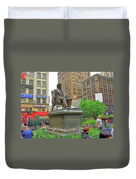Horace Greelly, First President Of Typographic Union Of New York City Duvet Cover