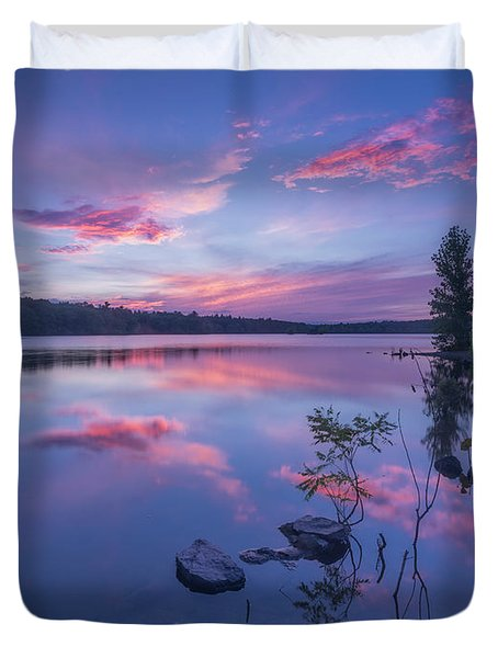 Horn Pond Sunset Duvet Cover