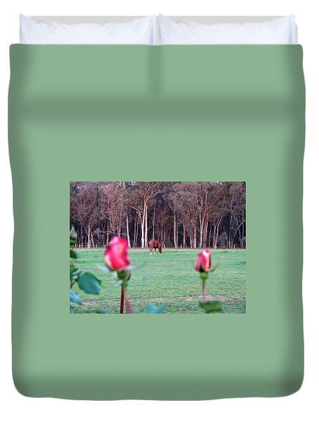 Horse And Roses Duvet Cover