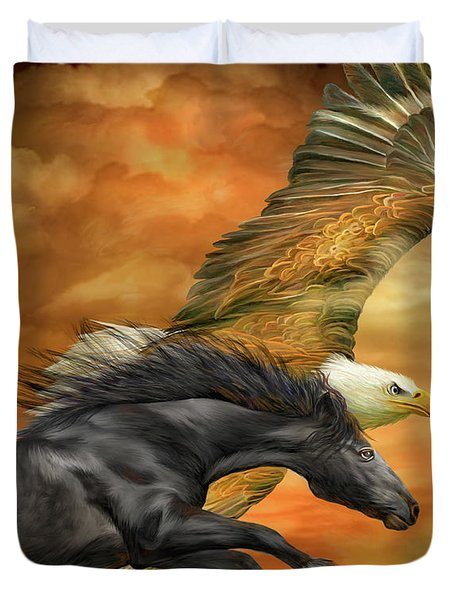 Horse And Eagle - Spirits Of The Wind  Duvet Cover