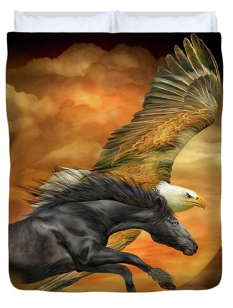 Duvet Cover featuring the mixed media Horse And Eagle - Spirits Of The Wind  by Carol Cavalaris