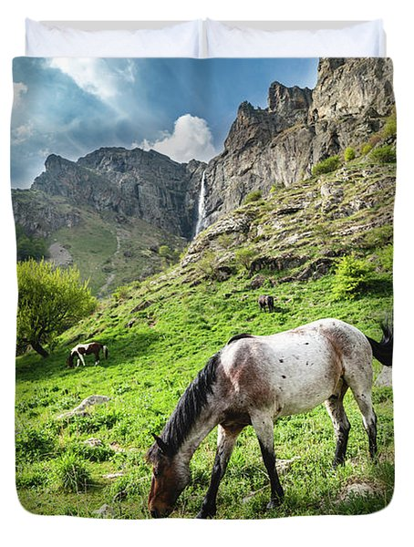 Horse On Balkan Mountain Duvet Cover