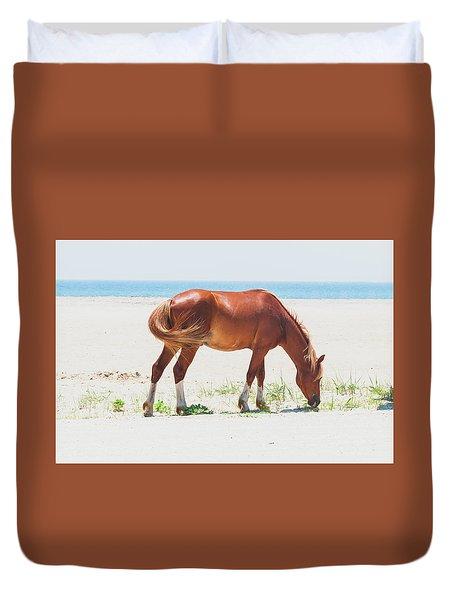 Horse On Beach Duvet Cover