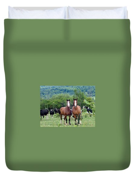 Horses And Cows.  Duvet Cover