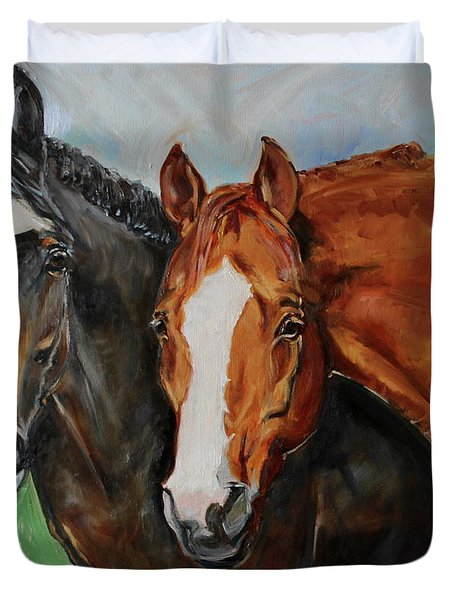 Horses In Oil Paint Duvet Cover