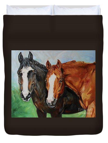 Horses In Oil Paint Duvet Cover
