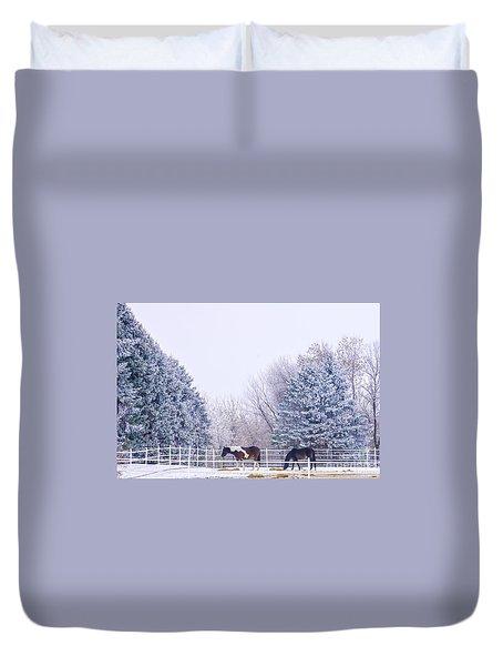 Horses In The Snow Duvet Cover