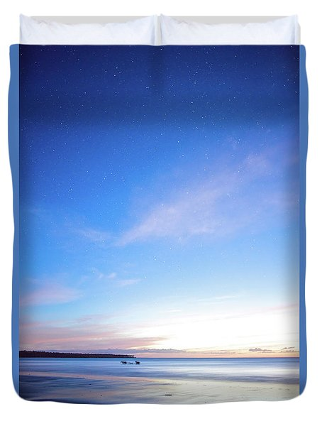 Horses Play In The Surf At Twilight Duvet Cover