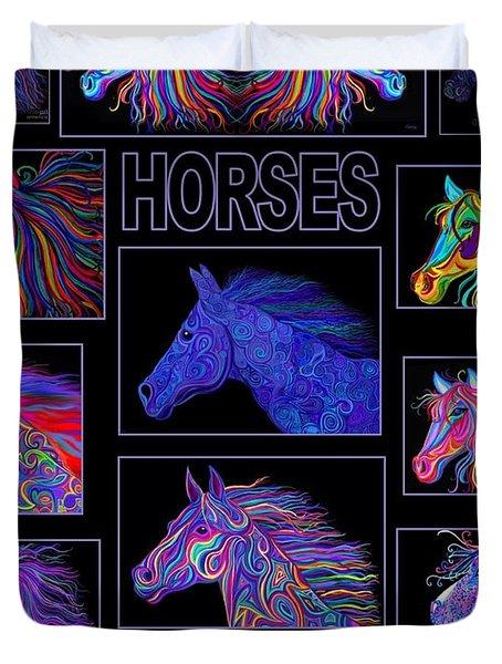 Horses Poster Duvet Cover