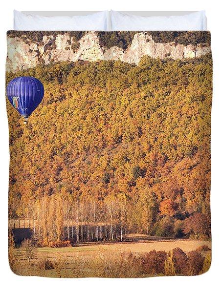 Hot Air Balloon, Beynac, France Duvet Cover