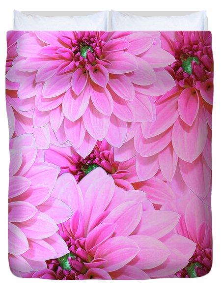 Hot Pink Dahlias  Duvet Cover