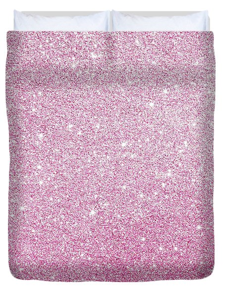 Duvet Cover featuring the photograph Hot Pink Glitter by Top Wallpapers