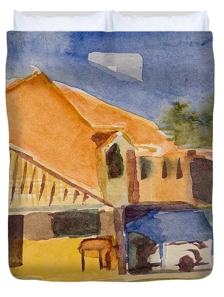 House Across The Way Duvet Cover