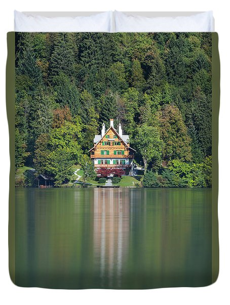 Duvet Cover featuring the photograph House On The Lake by Davor Zerjav