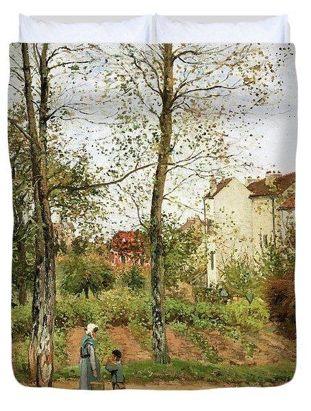Houses At Bougival, Autumn - Digital Remastered Edition Duvet Cover