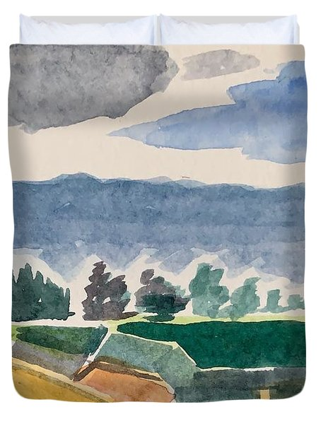 Houses, Trees, Mountains, Clouds Duvet Cover