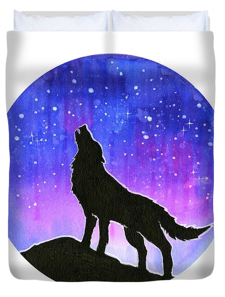 Howling Wolf Silhouette Galaxy Duvet Cover