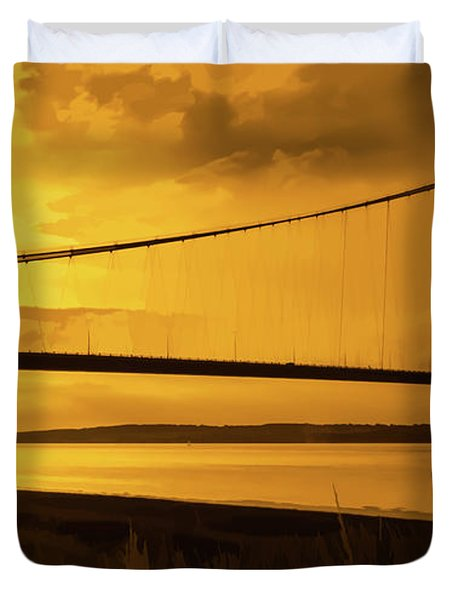 Humber Bridge Golden Sky Duvet Cover