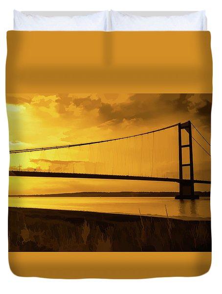 Duvet Cover featuring the photograph Humber Bridge Golden Sky by Scott Lyons
