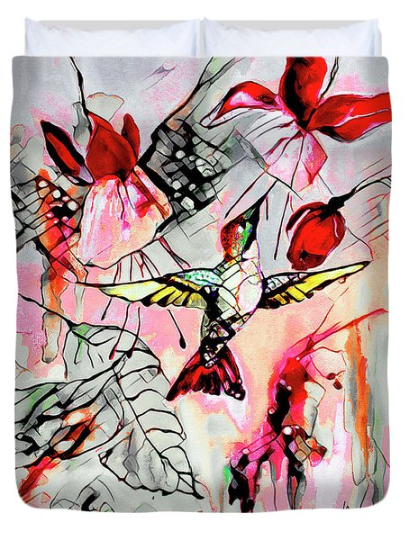 Hummingbird Abstract Modern Bird Art Duvet Cover