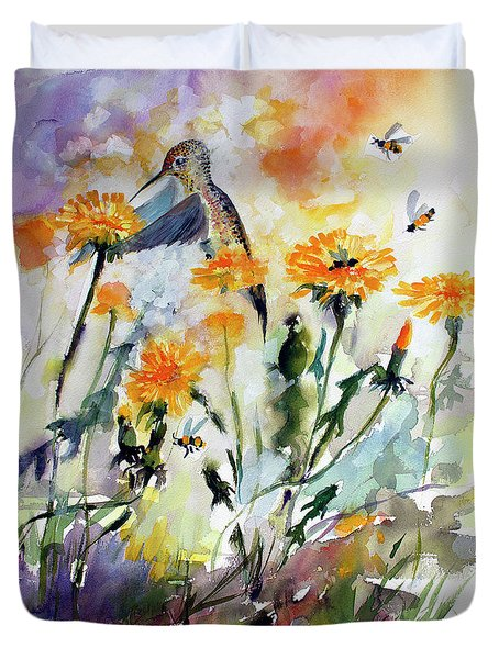 Hummingbird And Dandelions Duvet Cover