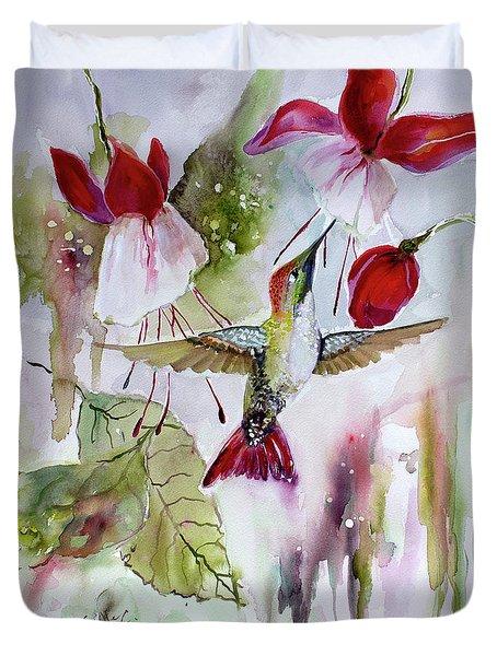 Hummingbird And Flowers Duvet Cover