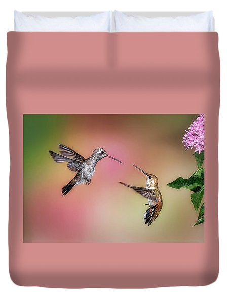 Hummingbird Battle Duvet Cover