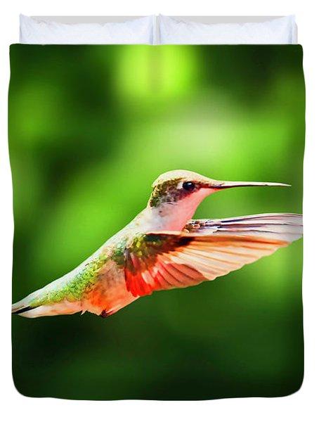 Hummingbird Flying Duvet Cover