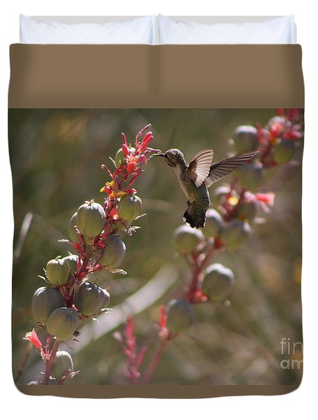 Hummingbird Flying To Red Yucca 3 In 3 Duvet Cover