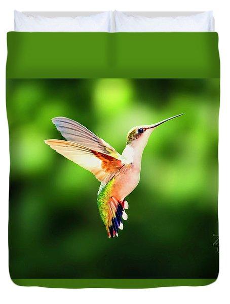 Hummingbird Hovering Duvet Cover