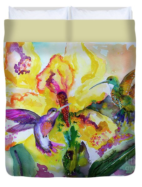 Hummingbird Song Watercolor Duvet Cover