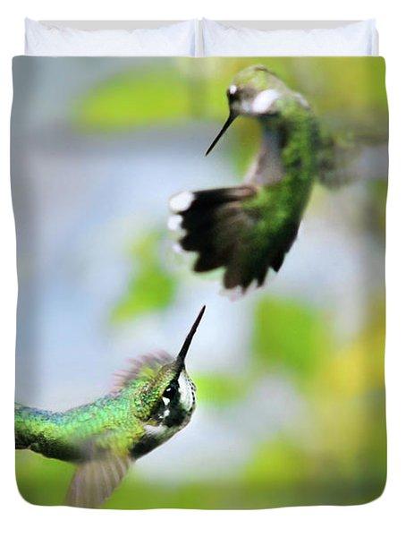 Hummingbirds Ensuing Battle Duvet Cover
