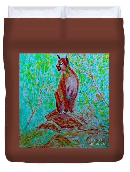 Hungry Mountain Lion Duvet Cover