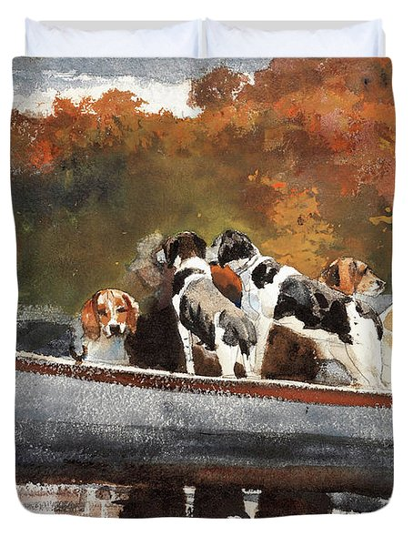 Hunting Dogs In Boat - Digital Remastered Edition Duvet Cover