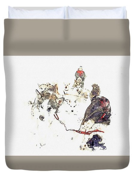 Huskies    Watercolor By Adam Asar Duvet Cover