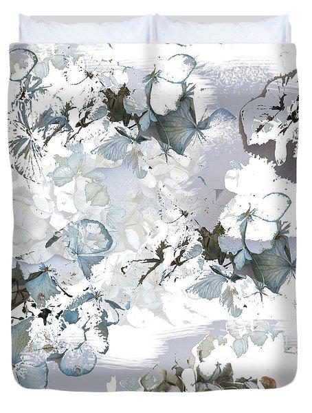 Hydrangeas In Powder Blue Duvet Cover