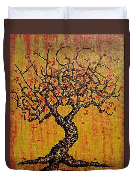 Duvet Cover featuring the drawing Hygge Love Tree by Aaron Bombalicki